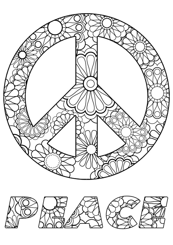 Peace Symbol - Zen and Anti stress Coloring Pages for ...