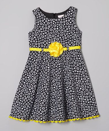 Look at this #zulilyfind! Black & Yellow Daisy Dress - Infant, Toddler & Girls by Youngland #zulilyfinds