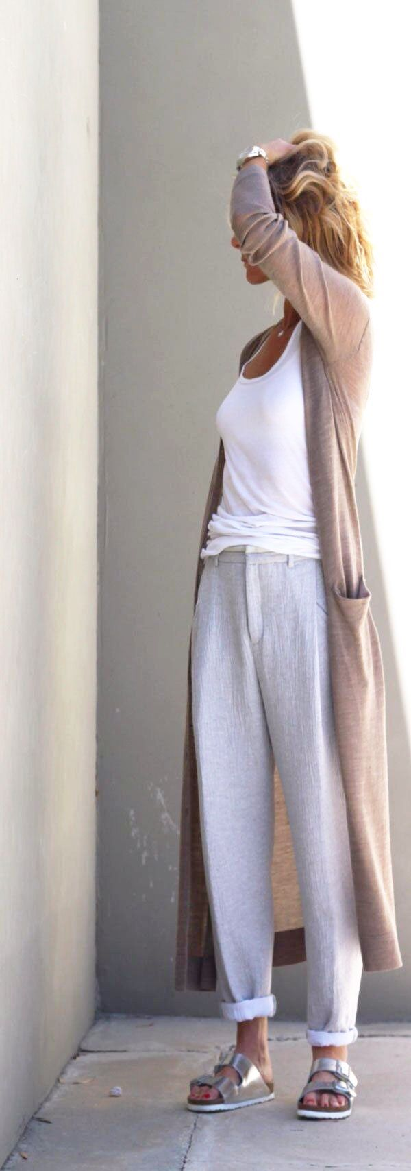 MINIMAL + CLASSIC: linen pants & silver Birks - nice but Birkenstocks are a bit TOO natural for me - prettier sandals maybe?