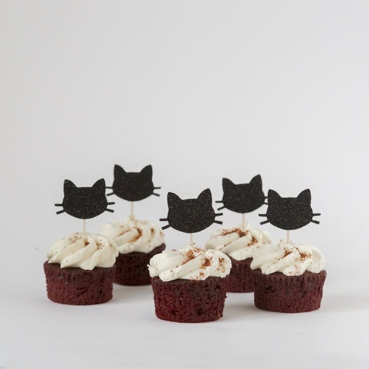 Cat cupcake toppers. Black cat party decorations. Silver cat. Pink bow. Pink and gold. First birthday party. Cat theme. Gift, Present. Cake. by InspiredbyAlma on Etsy