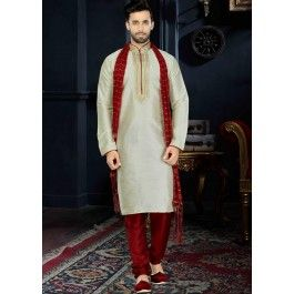 Readymade Off White Art Silk Kurta Churidar Set