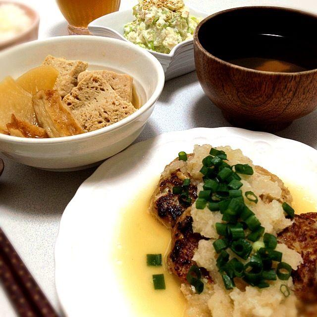 豆腐づくしでいつもに増してヘルシー晩ご飯(*^^*)ゞ - 55件のもぐもぐ - 豆腐ハンバーグみぞれ塩ポン酢がけ・凍り豆腐と大根の煮物・キャベツの白和え・わかめと麩のお吸い物 by kie