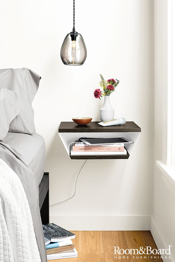 We designed this shelf with versatility in mind. Use it to display picture frames and other favorite objects or mount it next to your bed as a floating nightstand.