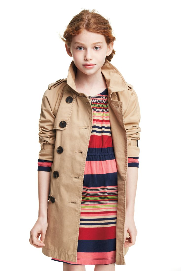 Striped keyhole dress and trench coat.