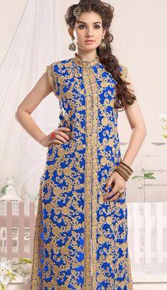 Beautiful Indian Blue Georgette A Line Suit, Dress