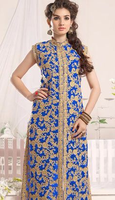 Beautiful Indian Blue Georgette A Line Suit, Dress