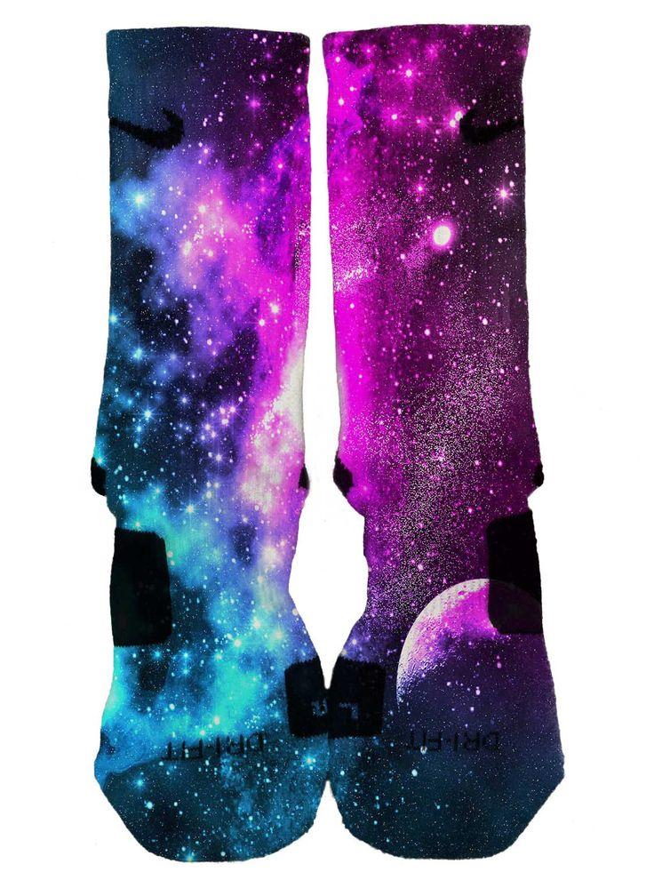 Nike Elite Custom Galaxy Socks Fast and Free Shipping! FAST SHIPPING!! 2015 by DailyApparelCustoms on Etsy https://www.etsy.com/listing/207776966/nike-elite-custom-galaxy-socks-fast-and