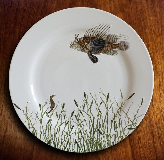 fishy fish Dinner Plate  l'admirateur by MilestoneDecalArt on Etsy, $45.00