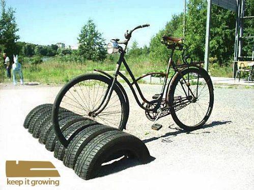 Reutiilizar Pneus para guardar bicicletas