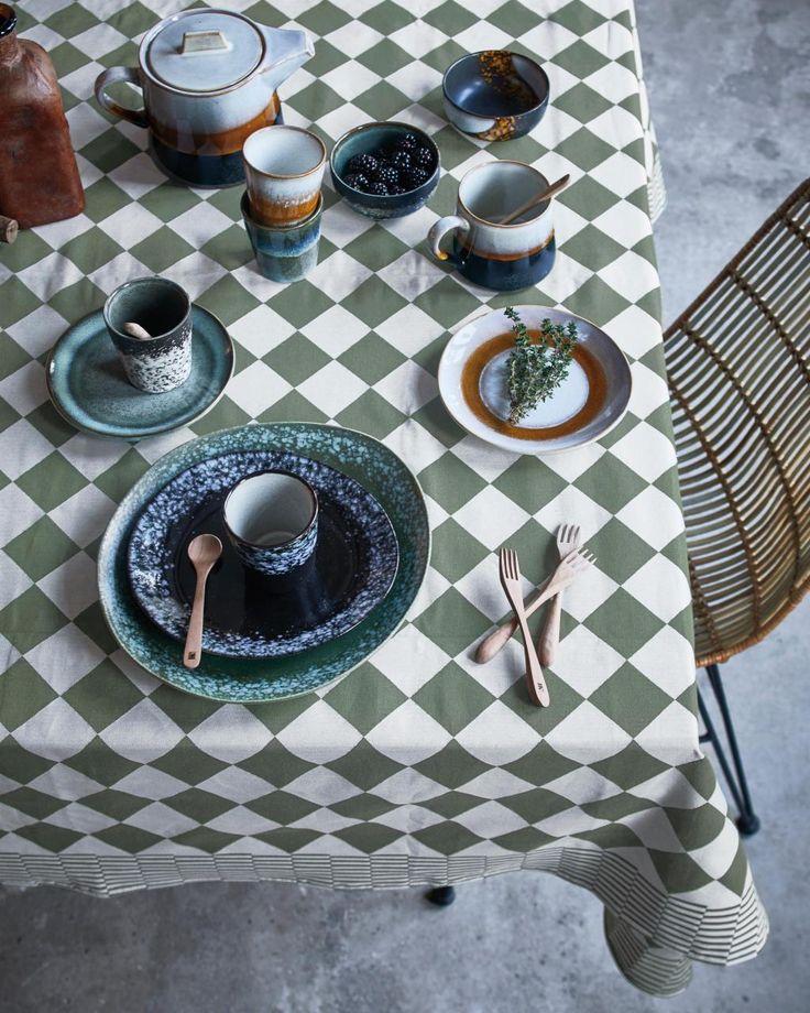 Tafelkleed - traditioneel dutch - geweven katoen - 140x200 - groen - HK Living