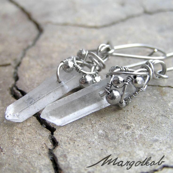 Krystal křišťálu, křišťálové drátované náušnice, nerezové stříbrné, wire-wrapping, wire wrapped, crystal jewelry earrings, stainless steel margotkab