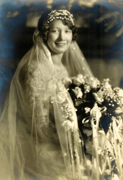 Smiling new bride #vintage