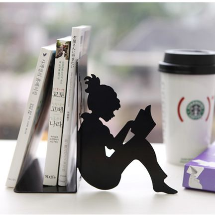 Girl Reading A Book Bookends