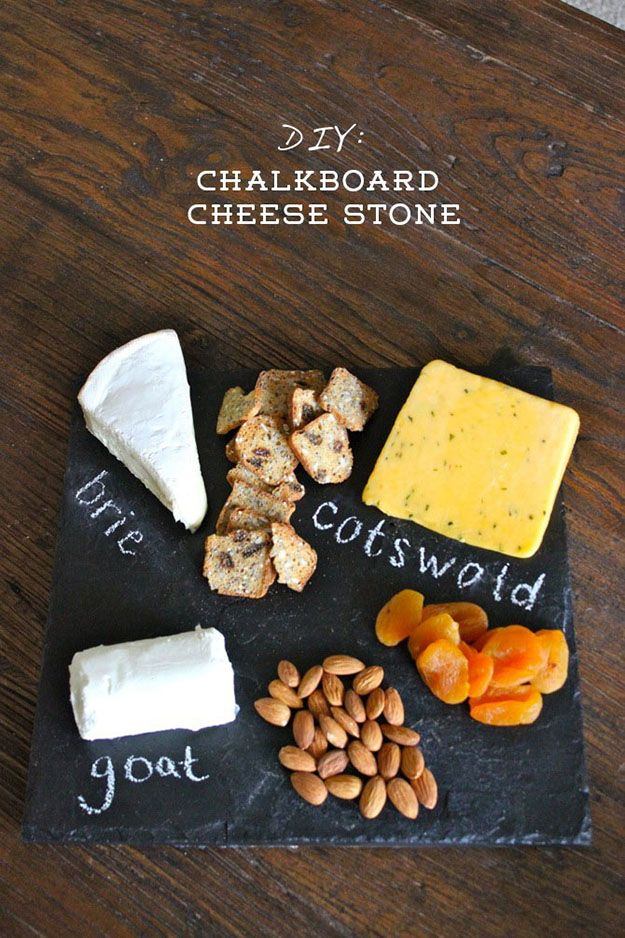 Unique DIY Gifts | Easy Kitchen Crafts | DIY Chalkboard Cheese Board Plate | DIY Projects & Crafts by DIY JOY at http://diyjoy.com/cheap-diy-gifts-ideas