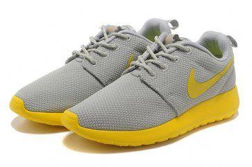 Nike Roshe Run Womens Gray Silver Yellow Mesh Shoes