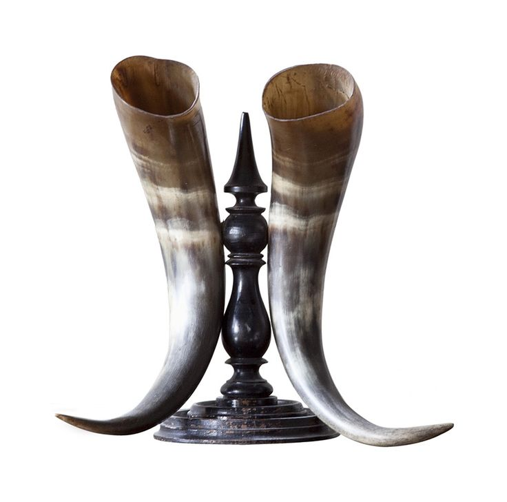 Buy Horn Pair on Ebonized Stand by Maxine Snider Inc. - Limited Edition designer Accessories from Dering Hall's collection of Traditional Decorative Objects.