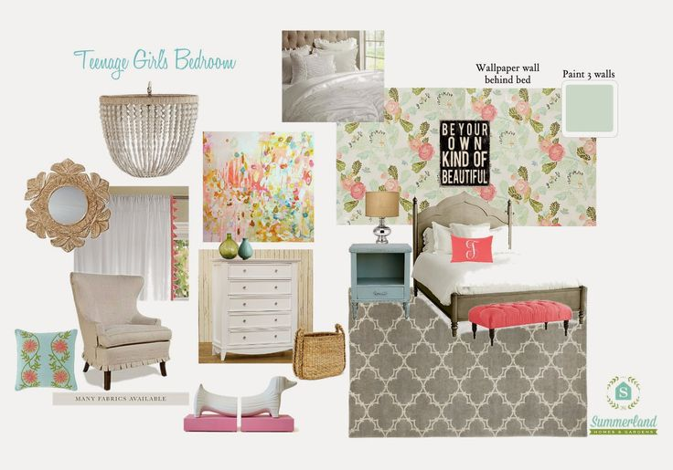 Teenage Girl's Bedroom: White bedding, a monogrammed pillow, tufted bench, Anthropologie wallpaper, beaded chandelier, carved wooden mirror and colorful art create a room perfect for this 16 year old who is both preppy & bohemian.