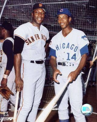 Baseball legends: Willie McCovey & Ernie Banks. #ChicagoHistory #Cubs #Giants
