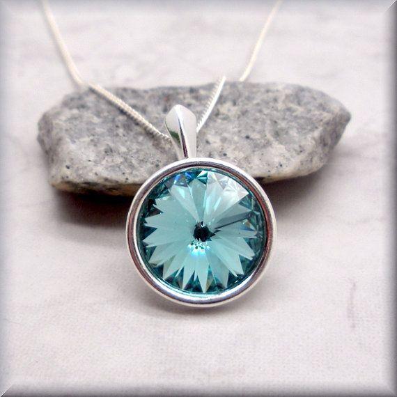 December Birthstone Necklace Swarovski Rivoli Light Turquoise