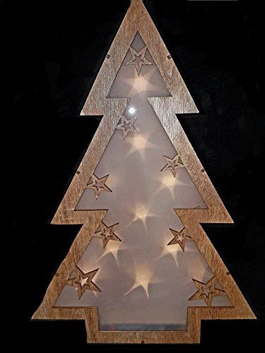 Garden Mile® Rustic 40cm Light Up Battery Operated Wooden Table Top Christmas Tree With Floating 3D Stars In Warm White Hologram LED Lights Shabby Chic Xmas Christmas Festive Window Or Table Decoration Ornament