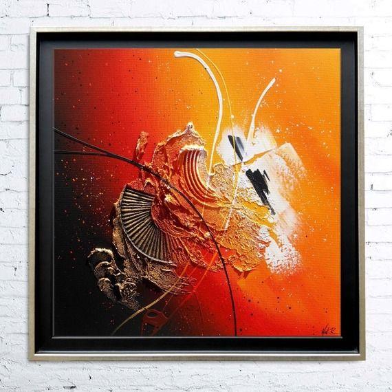 Tableau abstrait contemporain toile encadr caisse for Peinture tableau blanc castorama