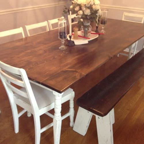 DIY Farmhouse Table: Thrifty Chicken, Painted Furniture, Dining Table, Dining Room Tables, Room Ideas, Farmhouse Furniture, Farmhouse Dining Rooms, Furniture Ideas, Diy Farmhouse Table