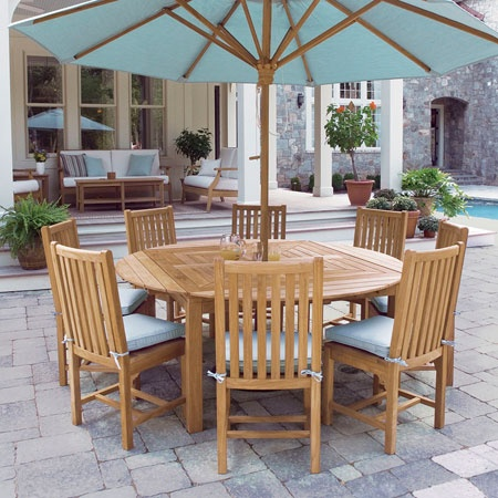 Loving this teak table...adjusts from 4 person square, to 6 person oval, to 8 person round. Great design! $1590.00