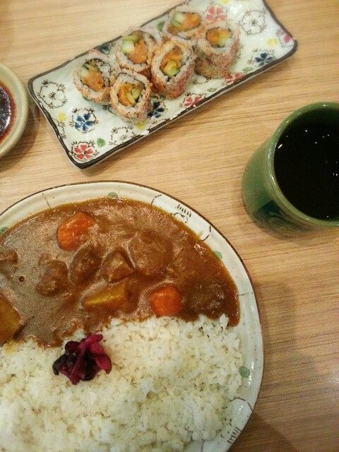 Beef Curry and California Roll Sushi