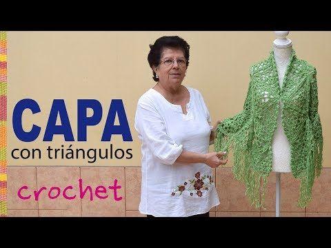 Capa con vuelo hecha con triángulos tejidos a crochet - Tejiendo Perú - YouTube