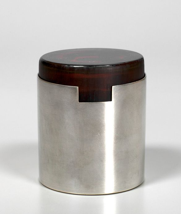 // Inciso Glass and Silver-Plated Brass Box by Christofle, 1960s.