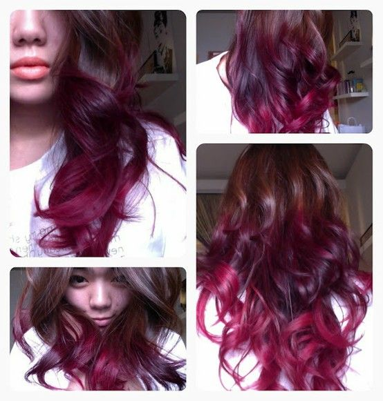 Ombre dark pink hair: Ombre Hair Colors, Purple Hair, Red Hair, Pink Hair, Haircolor, Ombrehair, Hair Style, Red Ombre Hair, Hair Tips