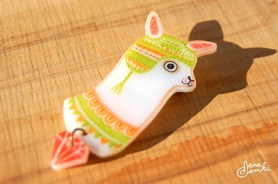 PAUL the Llama - shrink plastic brooch