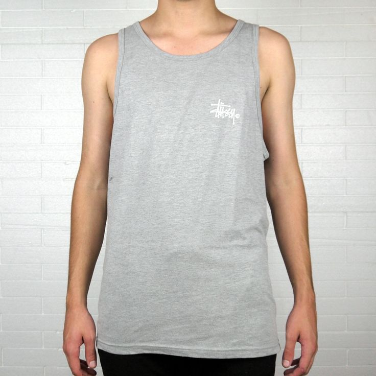 "STUSSY BASIC LOGO TANK TOP ""GREY HEATHER"" 