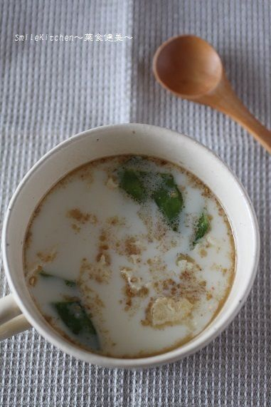 レシピ【カルシウムたっぷり!!簡単!!絹さやと豆腐のミルクスープ ...