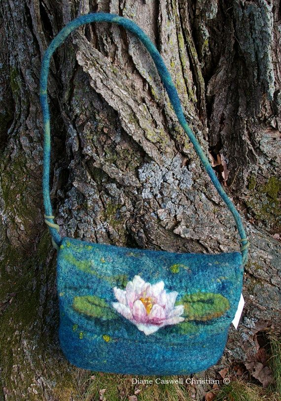 Waterlily Felt Purse by FeltInspiration on Etsy