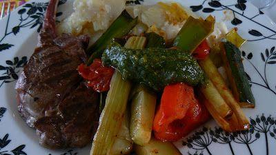 Deer with baked vegetables, pesto and celeriac puré   Hjort med bakte grønnsaker, pesto og sellerikrem. Recipe in Norwegian