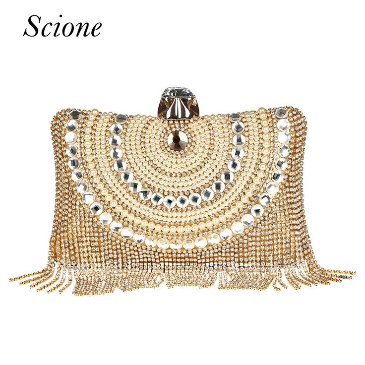 New Women Diamond Wedding bride Shoulder Crossbody Bags Gold Clutch Beaded Tassel Evening Bags Party Purse banquet Handbags Li29 //Price: $24.49 & FREE Shipping //     #hashtag3
