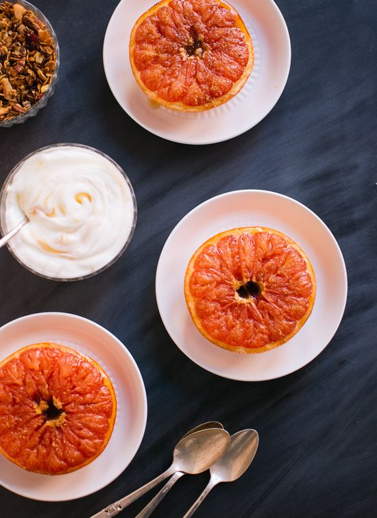 Broiled grapefruit with honey yogurt and granola