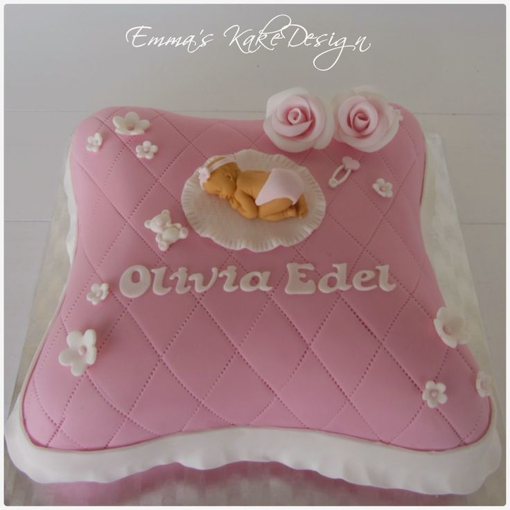 Emmas KakeDesign: Head to the blog for a DIY tutorial on how to make the cutest pillow christening cake. Instagram @emmaskakedesign