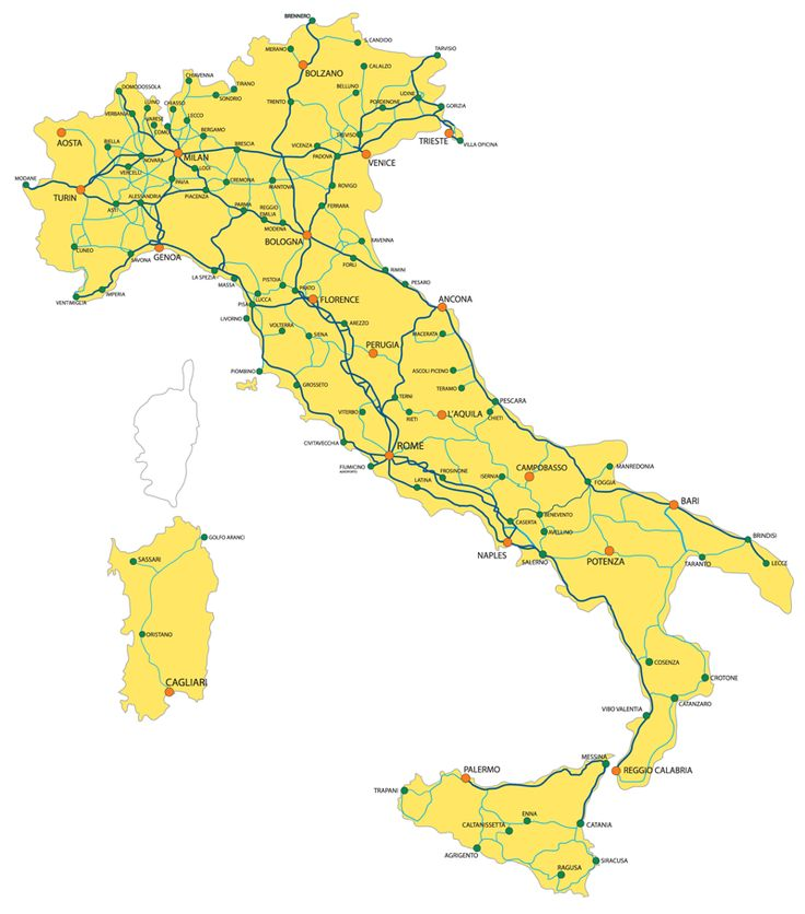 Train Map of Italy  Remember to pack light - there is not always much room to stow luggage.