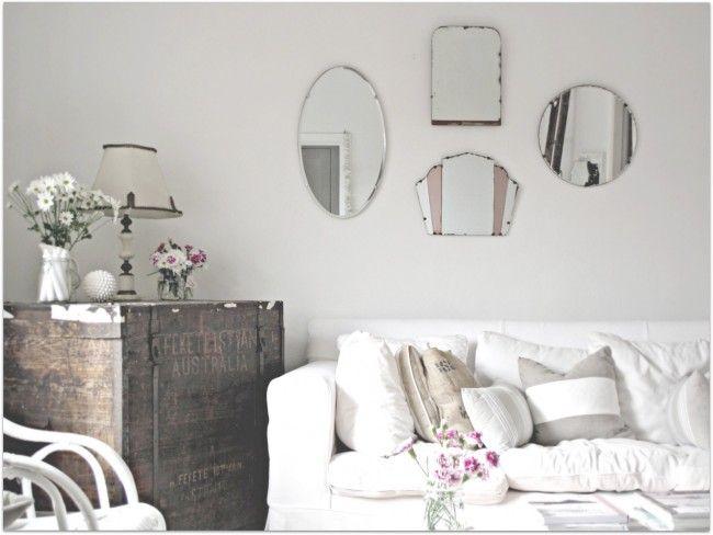 White: Coastal Rooms, Vintage Mirrors, White Living, Living Rooms, Beach Cottages, Dreams, Cottages Chic, Coastal Decor, Beaches Cottages