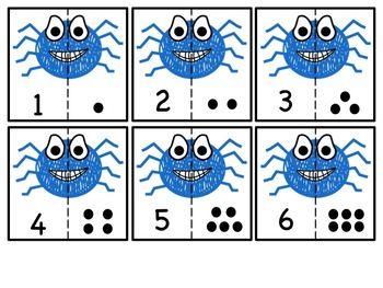 FREEBIE: Spider cut & match numbers 0-10