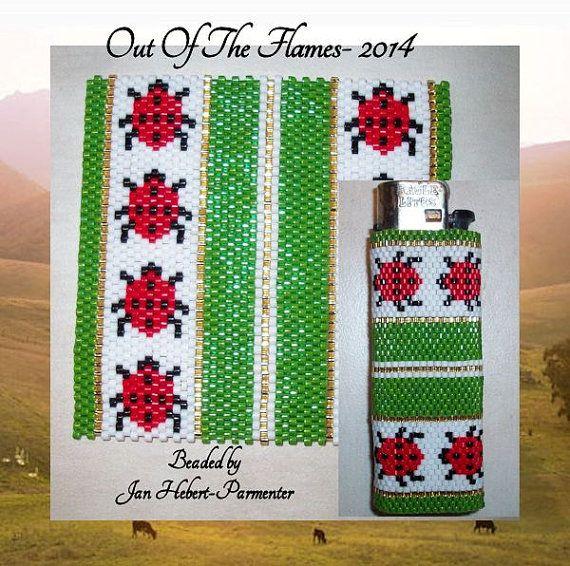 Bead PATTERN Ladybug Lighter Cover Peyote Or Brick stitch