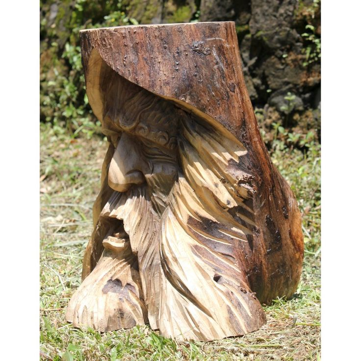 Tree Carvings | ... › Kadek › Solid Wooden Ornate Tree Spirit Trunk Carving | Stool