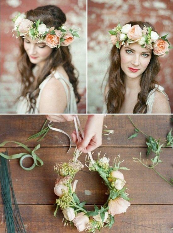 Penteados de noivas: Coroa feita de flores naturais