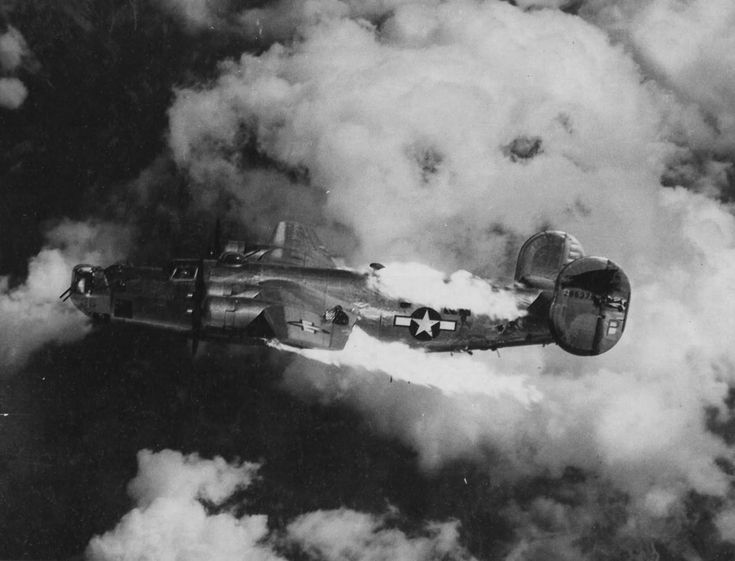 This aircraft is pictured just moments before it burst into flames and went out of control, all ten crew members were killed in action.