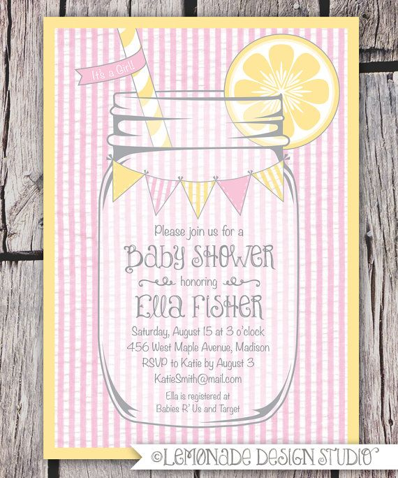 Mason Jar and Seersucker Invitation - Printable Baby Shower Invitation - Lemonade - Bunting - Also for Bridal Shower or Birthday Party