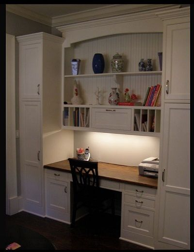 Desk with lots of storage space from (Creating the Perfect Home Office)