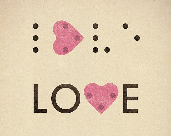 Love is blind Print 8 x 11.5 - Romantic braille love heart blind typography pink cream
