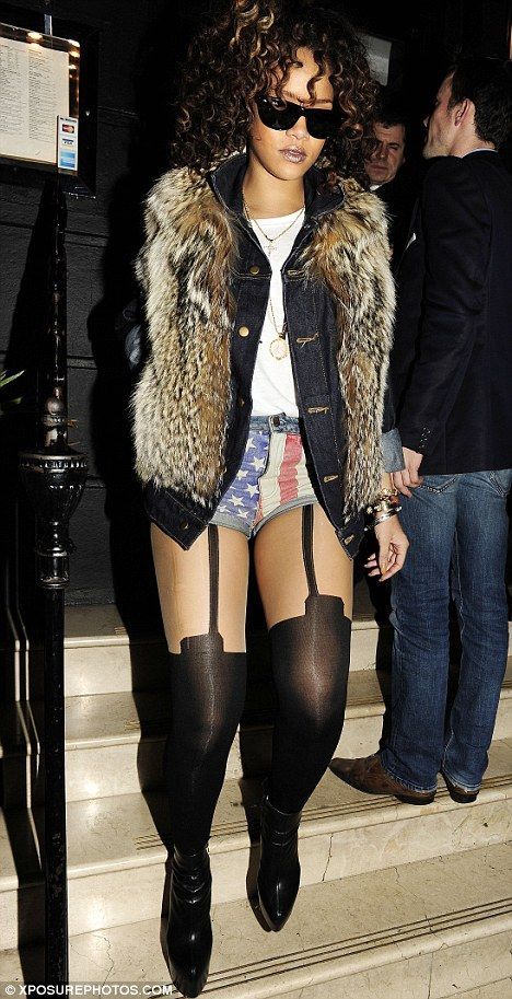 She Looked Better Rihanna Leaves London Restaurant Nozomi Wearing The Same Suspender Style